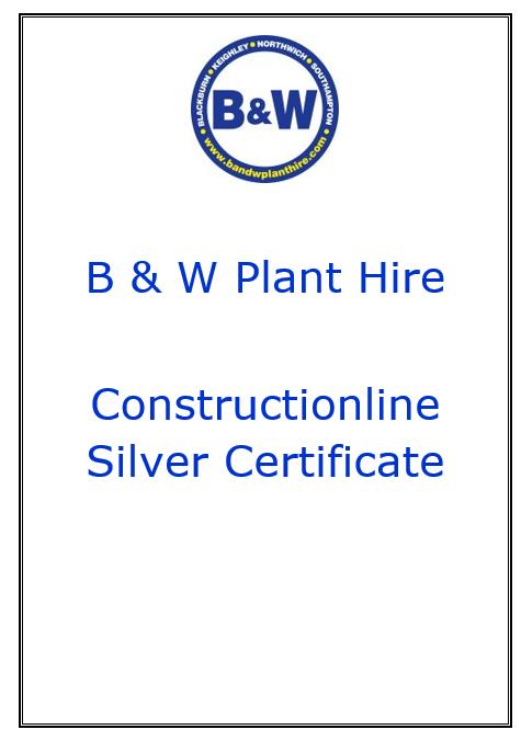 B & W Constructionline Silver Certificate